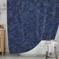 KESS InHouse® Blue and Gold Marble Shower Curtain