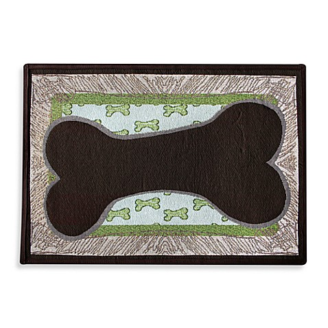 PB Paws Pet Collection Bone Sketch 13-Inch x 19-Inch Pet Mat in Leaf/Pesto