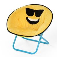 Heritage Kids Microfiber Emoji Chair in Yellow/blue