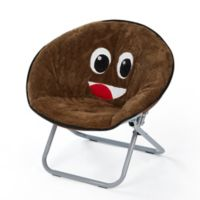 Heritage Kids Microfiber Emoji Chair in Brown