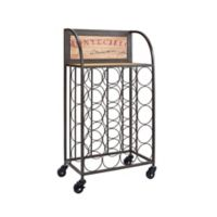 Linon Home Décor Products Gavin Wood and Metal Wine Rack in Black