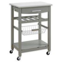 Linon Home Keagan Kitchen Cart in Grey