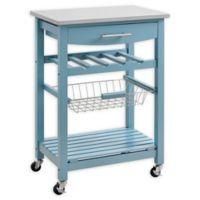 Linon Home Keagan Kitchen Cart in Blue