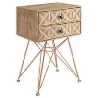 Linon Home Macon 2-Drawer Accent Table in Natural