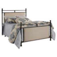 Hillsdale Furniture Ashley King Linen Upholstered Bed with Rails in Stone/Rustic Brown