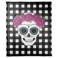 Designs Direct Sugar Skull Buffalo Check Fleece Throw Blanket