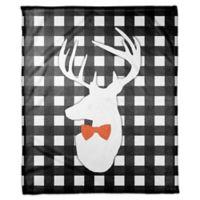 Designs Direct Halloween Deer Buffalo Check Fleece Throw Blanket