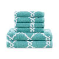 Merritt 6-Piece Jacquard Bath Towel Set in Aqua