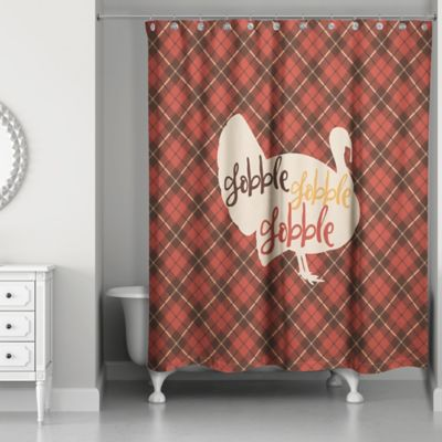Designs Direct Plaid Turkey Shower Curtain In Red