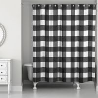 Designs Direct Buffalo Check Shower Curtain in Black