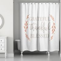 "Designs Direct ""Grateful Thankful Blessed"" Shower Curtain in Orange"