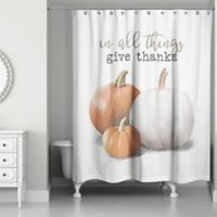 """Designs Direct """"Give Thanks"""" Shower Curtain in Orange"""