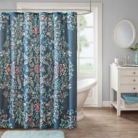 Madison Park Eden Shower Curtain in Navy