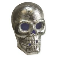 Northlight Day of the Dead LED Skull Halloween Decoration in Metallic Silver