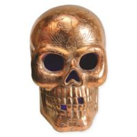 Northlight Day of the Dead LED Skull Halloween Decoration in Metallic Copper