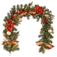National Tree Company 72-Inch Evergreen Poinsettia Holiday Garland in Red