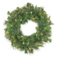 24-Inch Canyon Pine Pre-Lit Artificial Christmas Wreath