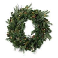 24-Inch Winter Pine Cone Pre-Lit Artificial Christmas Wreath