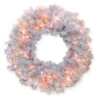 24-Inch Cedar Pine Pre-Lit Artificial Christmas Wreath