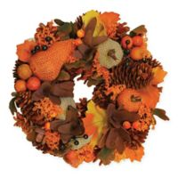 10-Inch Artificial Autumn Harvest Gourds & Berries Wreath