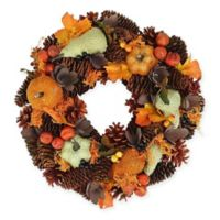13-Inch Artificial Autumn Harvest Gourds & Berries Wreath