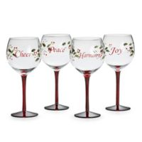 Pfaltzgraff® Winterberry Sentiment Wine Glasses (Set of 4)