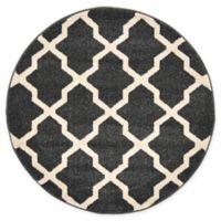 "Unique Loom San Antonio Trellis 3'3"" Round Powerloomed Area Rug in Black"