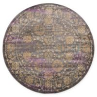 Unique Loom Saffle Stockholm 6' Round Powerloomed Area Rug in Gray