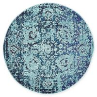 "Unique Loom Salamanca Palazzo 3'3"" Round Powerloomed Area Rug in Blue"