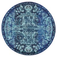Unique Loom Salamanca Palazzo 6' Round Powerloomed Area Rug in Blue