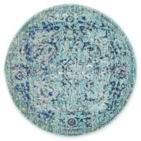 "Unique Loom Salamanca Palazzo 3'3"" Round Powerloomed Area Rug in Light Blue"