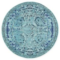 Unique Loom Salamanca Palazzo 6' Round Powerloomed Area Rug in Light Blue