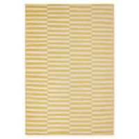 Unique Loom Striped Tribeca 4' X 6' Powerloomed Area Rug in Yellow