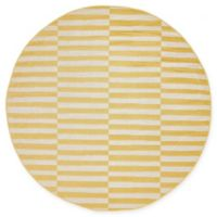 Unique Loom Striped Tribeca 5' Round Powerloomed Area Rug in Yellow