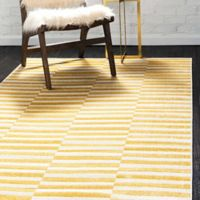 Unique Loom Striped Tribeca 5' X 8' Powerloomed Area Rug in Yellow