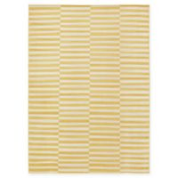 Unique Loom Striped Tribeca 7' X 10' Powerloomed Area Rug in Yellow