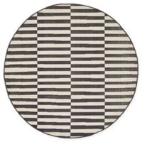 Unique Loom Striped Tribeca 5' Round Powerloomed Area Rug in Black