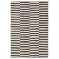 Unique Loom Striped Tribeca 6' X 9' Powerloomed Area Rug in Black