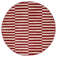 Unique Loom Striped Tribeca 5' Round Powerloomed Area Rug in Red