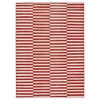 Unique Loom Striped Tribeca 7' X 10' Powerloomed Area Rug in Red