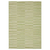 Unique Loom Striped Tribeca 4' X 6' Powerloomed Area Rug in Green