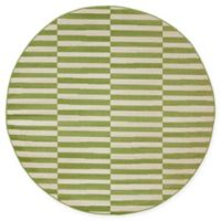 Unique Loom Striped Tribeca 5' Round Powerloomed Area Rug in Green