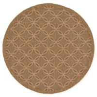 Unique Loom Spiral Outdoor 6' Round Powerloomed Area Rug in Light Brown