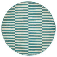 Unique Loom Striped Tribeca 5' Round Powerloomed Area Rug in Teal