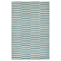 Unique Loom Striped Tribeca 5' X 8' Powerloomed Area Rug in Teal