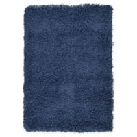 "Unique Loom Solid Shag 2'2"" X 3' Powerloomed Area Rug in Navy"