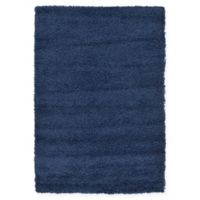 Unique Loom Solid Shag 4' X 6' Powerloomed Area Rug in Navy