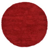 Unique Loom Solid Shag 6' Round Powerloomed Area Rug in Cherry Red