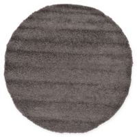 Unique Loom Solid Shag 6' Round Powerloomed Area Rug in Graphite Grey