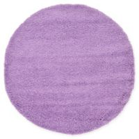 Unique Loom Solid Shag 6' Round Powerloomed Area Rug in Lilac